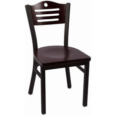 Eagle Series Wood Back Armless Chair with Steel Frame and Wood Seat - Mahogany