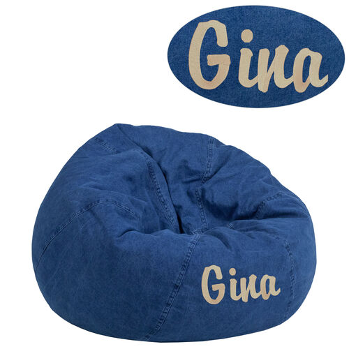 Our Personalized Small Denim Bean Bag Chair for Kids and Teens is on sale now.