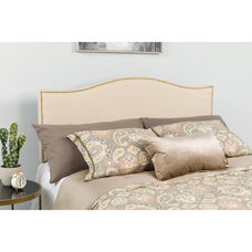 Lexington Upholstered Full Size Headboard with Accent Nail Trim in Beige Fabric