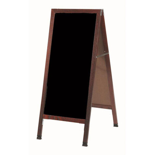 A-Frame Sidewalk Black Acrylic Board with Cherry Stained Solid Red Oak Frame - 42