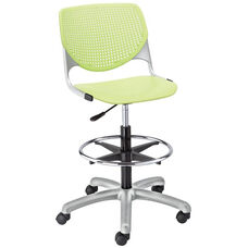 DS2300 KOOL Series Poly Armless Task Stool with Perforated Back and Silver Frame - Lime Green