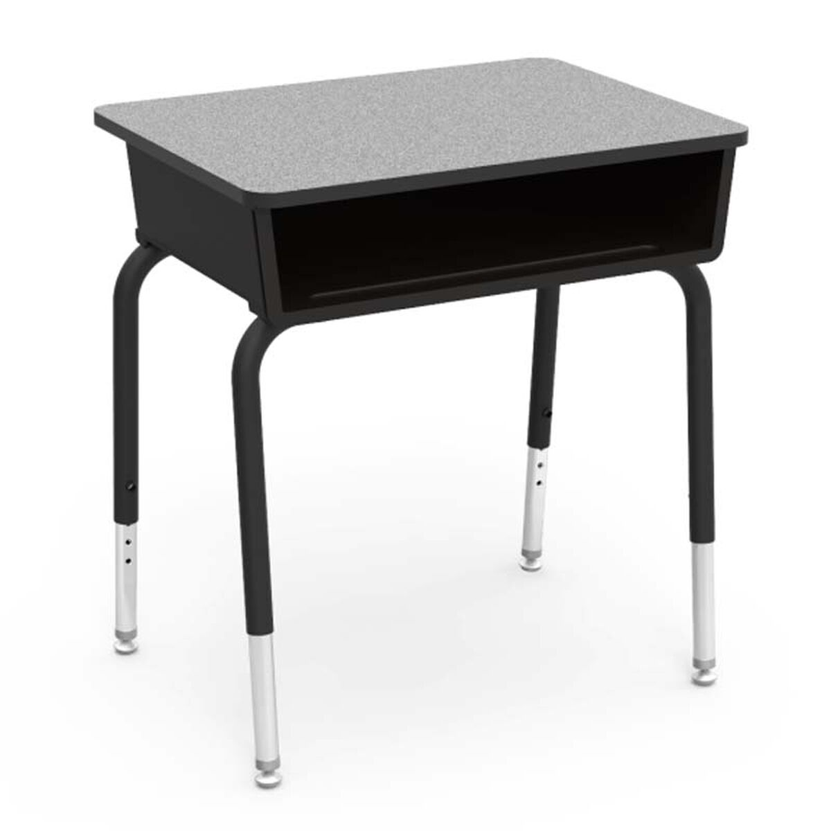 Our Quick Ship 785 Series Gray Nebula Laminate Top Student Desk With Black Open Front Plastic