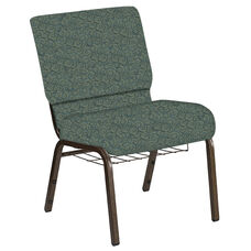 Embroidered 21''W Church Chair in Martini Smokey Fabric with Book Rack - Gold Vein Frame