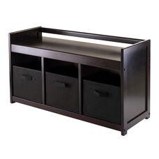 Addison 4-Pc Storage Bench with 3 Foldable Black Fabric Baskets