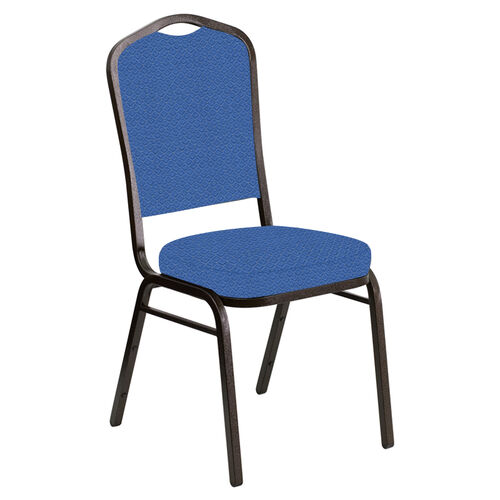 Our Crown Back Banquet Chair in Venus Patriot Blue Fabric - Gold Vein Frame is on sale now.