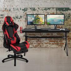 BlackArc Black Gaming Desk and Red Footrest Reclining Gaming Chair Set - Cup Holder/Headphone Hook/Removable Mouse Pad Top/Wire Management