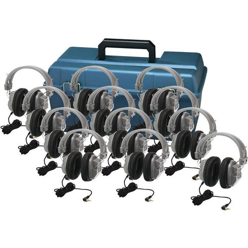 Our Black and Gray Deluxe Headphone Set with Leatherette Ear Cushions and Large Lockable Carrying Case - Set of 12 Headphones is on sale now.