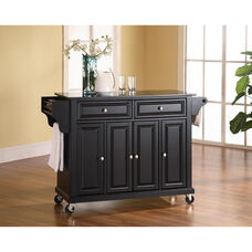 Solid Black Granite Top Kitchen Island Cart with Cabinets - Black Finish