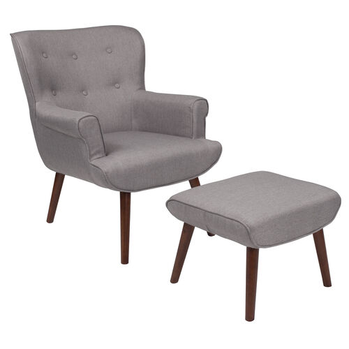 Our Bayton Upholstered Wingback Chair with Ottoman in Light Gray Fabric is on sale now.