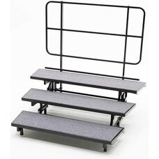 3 Tier Mobile E - Z Riser with Built - In Back Rail and Heavy Duty Casters - 72
