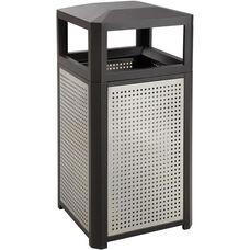 Evos™ 38 Gallon Steel Indoor or Outdoor Trash Receptacle - Black