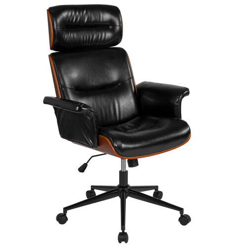 Our Contemporary Black LeatherSoft High Back Walnut Wood Executive Swivel Ergonomic Office Chair is on sale now.