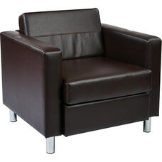 Ave Six Pacific Faux Leather Arm Chair with Chrome Finish Legs - Espresso