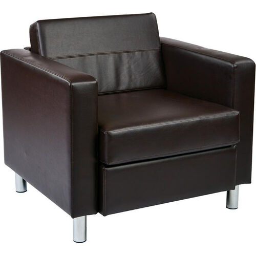 Our Ave Six Pacific Faux Leather Arm Chair with Chrome Finish Legs - Espresso is on sale now.