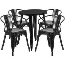 """Commercial Grade 24"""" Round Black Metal Indoor-Outdoor Table Set with 4 Arm Chairs"""