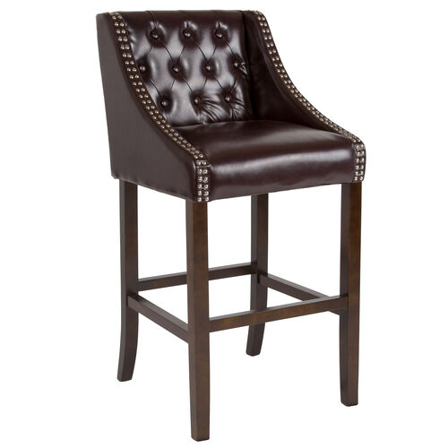 Surprising Carmel Series 30 High Transitional Tufted Walnut Barstool With Accent Nail Trim In Brown Leather Caraccident5 Cool Chair Designs And Ideas Caraccident5Info
