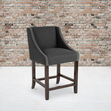 """Carmel Series 24"""" High Transitional Walnut Counter Height Stool with Accent Nail Trim in Charcoal Fabric"""