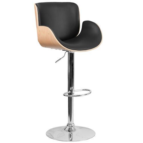 Bentwood Adjustable Height Barstool with Curved Vinyl Seat