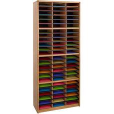 Value Sorter® Seventy-Two Compartment Literature Sorter and Organizer - Medium Oak