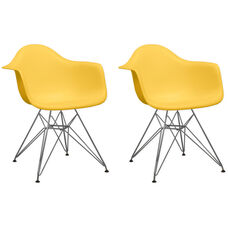 Paris Tower Arm Chair with Chrome Legs and Yellow Seat - Set of 2