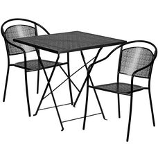 "Commercial Grade 28"" Square Black Indoor-Outdoor Steel Folding Patio Table Set with 2 Round Back Chairs"