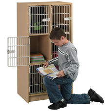 2000 Series 6 Compartment Wood Student Locker with Grille Style Wire Doors