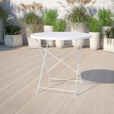 """Commercial Grade 30"""" Round White Indoor-Outdoor Steel Folding Patio Table"""