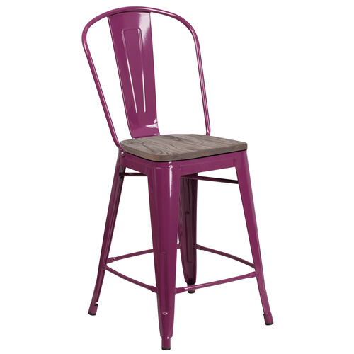 "Our 24"" High Purple Metal Counter Height Stool with Back and Wood Seat is on sale now."