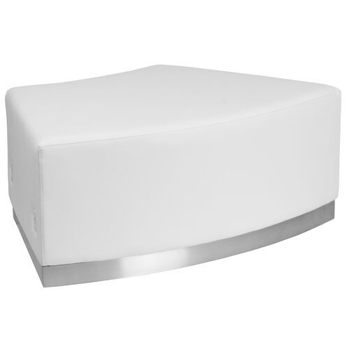 Our HERCULES Alon Series Melrose White Leather Backless Convex Chair with Brushed Stainless Steel Base is on sale now.
