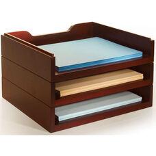 Bindertek Stack and Style Wood Desk Organizer Set of Three Stacking Trays - Cherry Finish