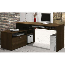 Modula L-Shaped Workstation with File Drawer and Keyboard Shelf - Tuxedo