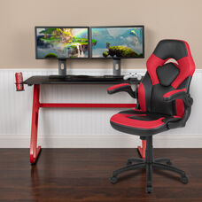 BlackArc Red Gaming Desk and Red/Black Racing Chair Set with Cup Holder and Headphone Hook