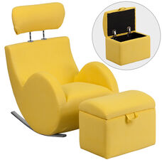 HERCULES Series Yellow Fabric Rocking Chair with Storage Ottoman