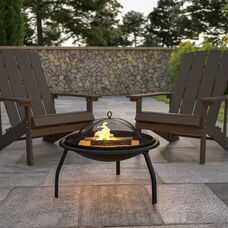 """22.5"""" Foldable Wood Burning Firepit with Mesh Spark Screen and Poker"""