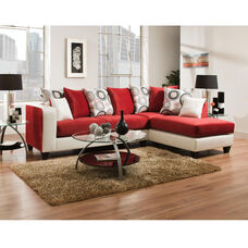 Riverstone Implosion Red Velvet Sectional with Right Side Facing Chaise