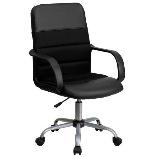 Our Mid-Back Black Leather and Mesh Swivel Task Office Chair with Arms is on sale now.