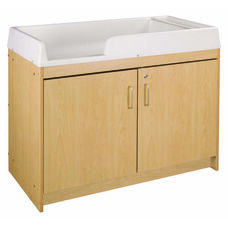 1000 Series 37.5''H Infant Changing Maple Table with Storage Cabinet - Assembled