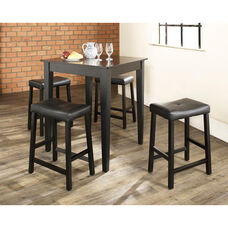 5 Piece Pub Dining Set with Tapered Leg and Upholstered Saddle Stools - Black Finish