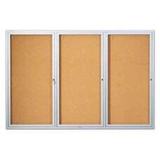 Three Door Enclosed Aluminum Bulletin Board - 48