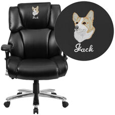 Embroidered HERCULES Series 24/7 Intensive Use Big & Tall 400 lb. Rated Black Leather Lumbar Ergonomic Office Chair