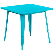"Commercial Grade 31.5"" Square Crystal Teal-Blue Metal Indoor-Outdoor Table"