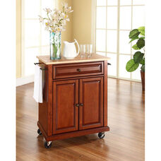 Natural Wood Top Portable Kitchen Island with Casters - Maple and Classic Cherry Finish