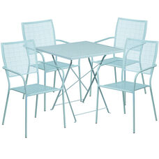 "Commercial Grade 28"" Square Sky Blue Indoor-Outdoor Steel Folding Patio Table Set with 4 Square Back Chairs"
