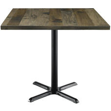 Urban Loft Collection 42'' Square Vintage Wood Top with Black Counter Height Table Base - Barnwood