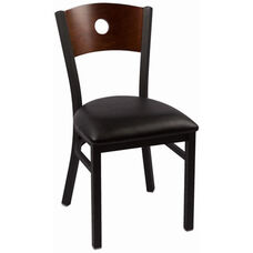 Circle Series Wood Back Armless Chair with Steel Frame and Vinyl Seat - Walnut