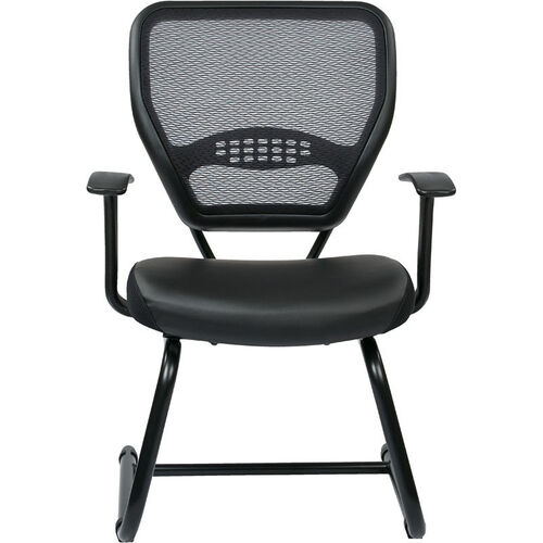Our Space Professional Air Grid Back Visitors Chair with Bonded Leather Seat - Black is on sale now.