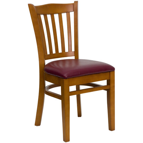 Our Cherry Finished Vertical Slat Back Wooden Restaurant Chair with Burgundy Vinyl Seat is on sale now.