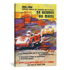 Porsche 356 & Spyder Le Mans Racing Vintage Poster by Unknown Artist Gallery Wrapped Canvas Artwork