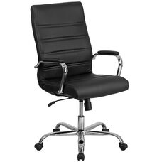 High Back Black Leather Executive Swivel Office Chair with Chrome Base and Arms