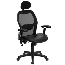 High Back Black Super Mesh Executive Swivel Office Chair with Leather Seat and Adjustable Lumbar & Arms